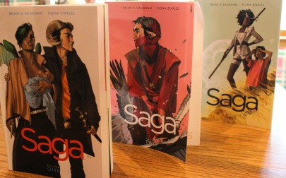 Photo by Elizabeth Fletcher Saga books by Brian K Vaughan and Fiona Staples